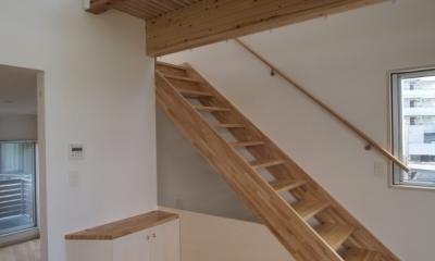 変形旗竿地に建つ半地下スキップフロアの家 (3階へつづく階段)