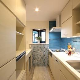 鮮やかカラーをアクセントに◇メゾネットマンションリフォーム (キッチン)
