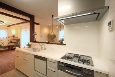 ガラストップのキッチン (古材を蘇らせた光と風の片流れの家)