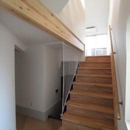 変形旗竿地に建つ半地下スキップフロアの家-階段