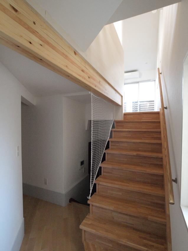 変形旗竿地に建つ半地下スキップフロアの家 (階段)