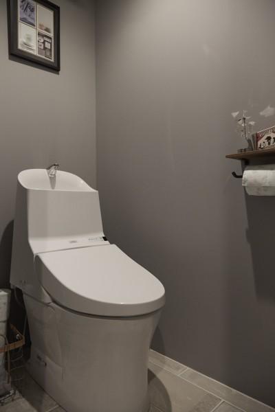 トイレ (アイアンフレームのオリジナルキッチンと飛び床の土間の家)
