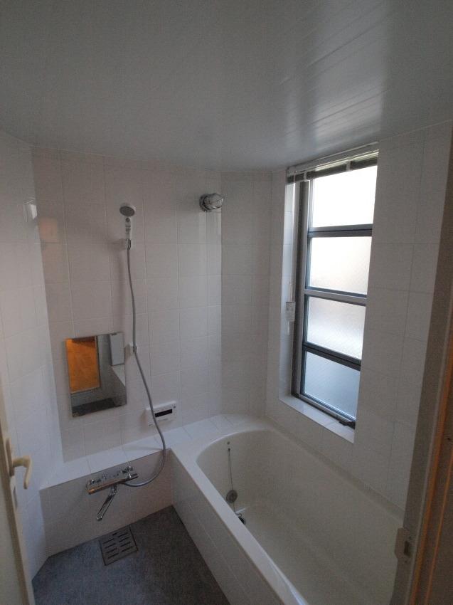 変形旗竿地に建つ半地下スキップフロアの家の写真 石貼りのバスルーム