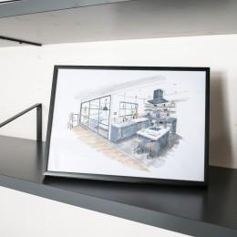 ホワイト×グレーの個性派キッチンのローコストリノベーション (手書きパース)