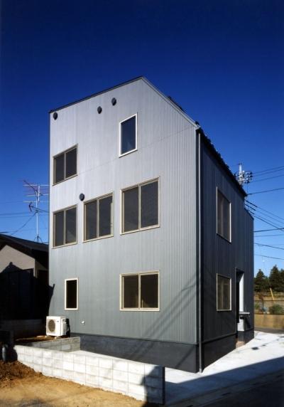 7人家族の家 (道路斜線を避けた木造3階建ての外観)