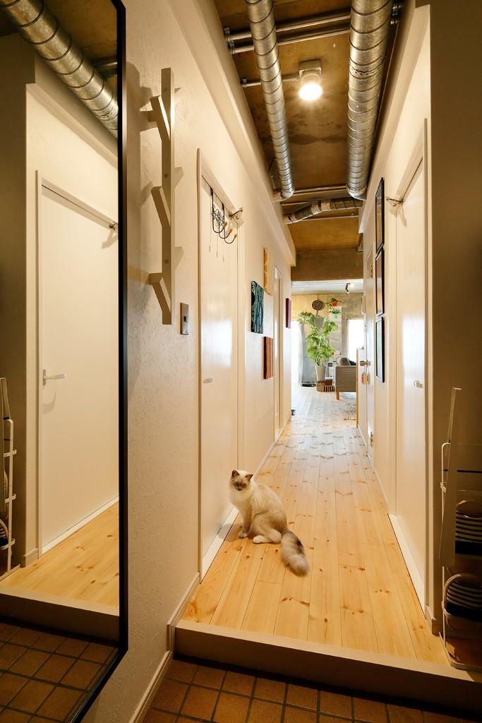猫と暮らす無垢フローリングの家 (廊下)