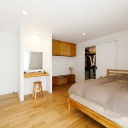 中古戸建を、木と土間とアトリエがあるシンプル空間に (大きなウォークインクローゼットが併設している寝室)