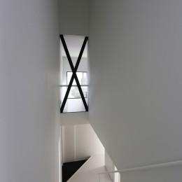 2階リビングの家 ハコノオウチ08 (玄関を見下ろす)