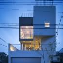 帝塚山の家の写真 外観(夕景)