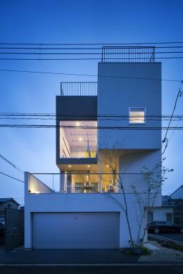 帝塚山の家 (外観(夕景))