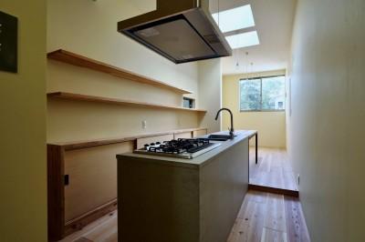 阿倍野の住宅:大阪の狭小住宅 3階建て (キッチン)