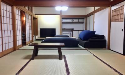 生駒山荘の別荘リノベーション(外国人家族):大阪 中古住宅のリノベーション (和室リビング)