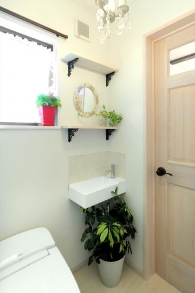 無垢材と珪藻土のトイレ (小さなイングリッシュコテージレストラン、まあさの家)