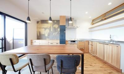 ダイニングキッチン|Natural Cute~無垢材×DIY塗装でオンリーワンな空間を~