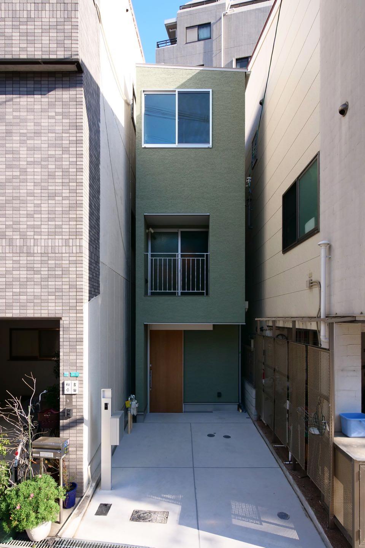 外観事例:正面外観(阿倍野の住宅:大阪の狭小住宅 3階建て)