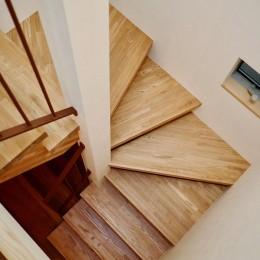 阿倍野の住宅:狭小間口の3階建て住宅 (階段)