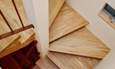 阿倍野の住宅:大阪の狭小住宅 3階建て (階段)