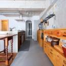 大空間に広がるヘリンボーンの写真 キッチン
