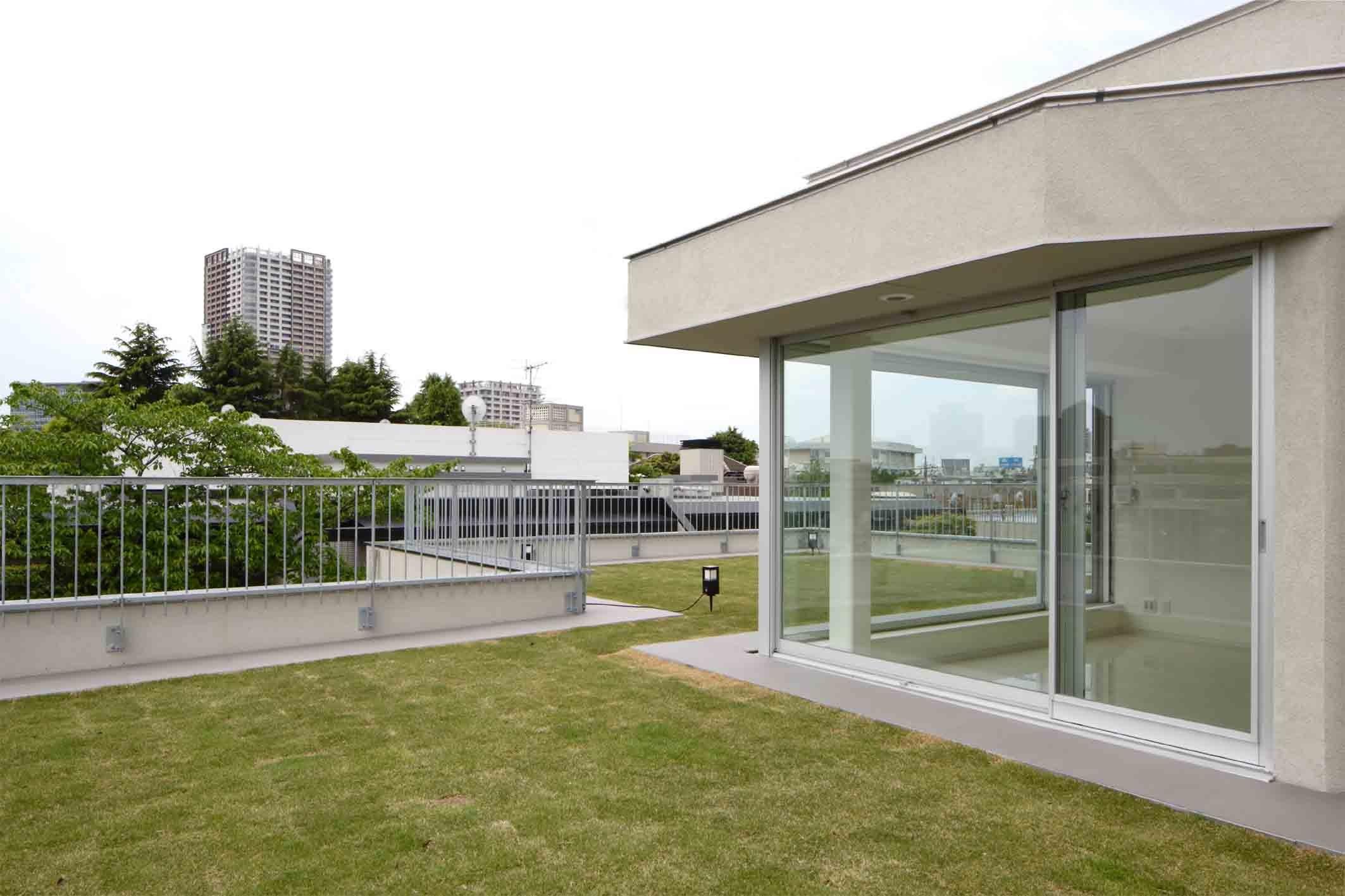 アウトドア事例:屋上芝生のあるルーフガーデン(高輪台の家、こだわりの施主と作り上げたバーカウンターのある大型住まい)