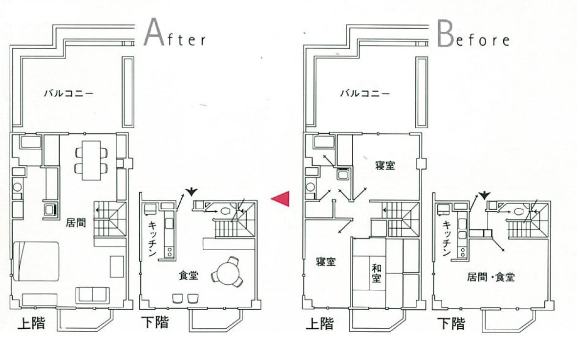 リビングダイニング事例:代々木公園近くのマンション(大理石モザイク床にしたスタイリッシュなメゾネットマンション改装)