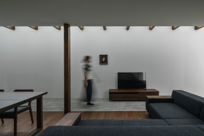 プライバシーを確保しながら光を取り入れる美術館のような家(石部東の家) (リビング)