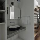 プライバシーを確保しながら光を取り入れる美術館のような家(石部東の家)の写真 洗面室