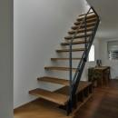 プライバシーを確保しながら光を取り入れる美術館のような家(石部東の家)の写真 ストリップ階段