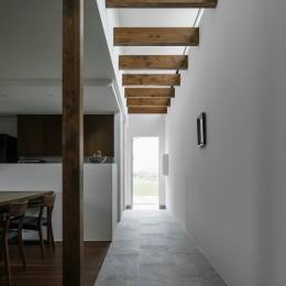 プライバシーを確保しながら光を取り入れる美術館のような家(石部東の家) (廊下)
