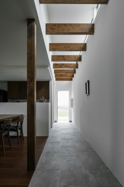 廊下 (プライバシーを確保しながら光を取り入れる美術館のような家(石部東の家))