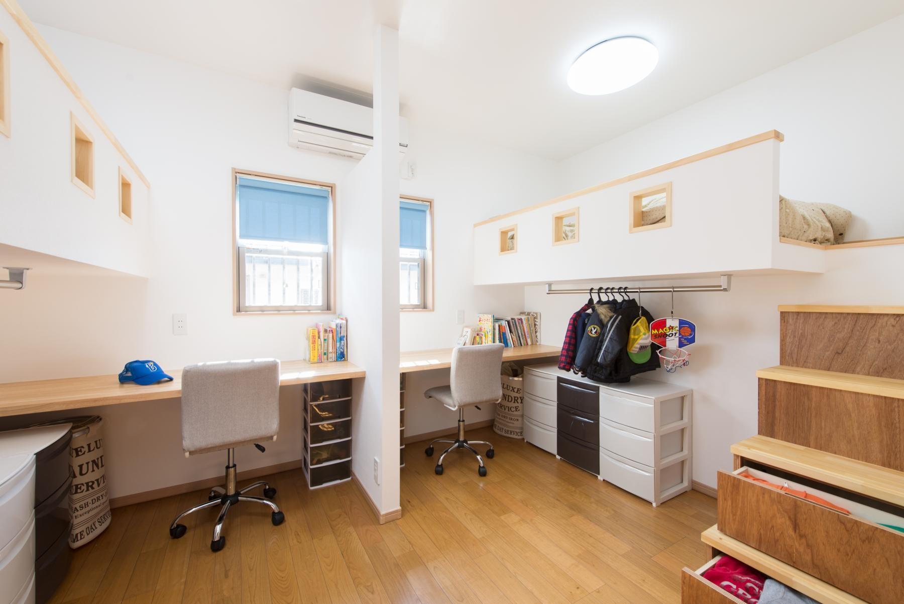 子供部屋事例:子ども部屋(落ち着いた和モダンに二世帯が心地よく暮らす、戸建て全面改装)