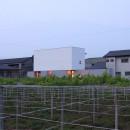 ミニマルデザインのハコ型の家の写真 夕景
