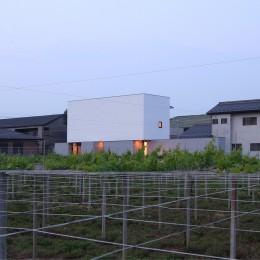 ミニマルデザインのハコ型の家 (夕景)