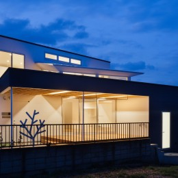 番田の住宅 (外観夜景)