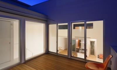 名古屋の住宅 (2階テラス夜景)
