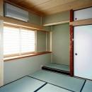 オープンテラスがある週末邸宅:コンクリート構造の住宅設計の写真 客室