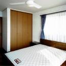 オープンテラスがある週末邸宅:コンクリート構造の住宅設計の写真 寝室