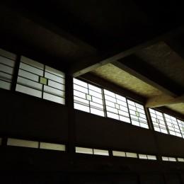 家族のびのび大空間:自然素材の家 (リビング吹き抜け(夜間))