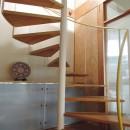 家族のびのび大空間:自然素材の家の写真 らせん階段