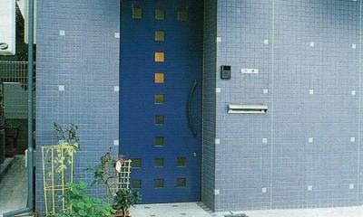 ポップなカラーが映える鉄骨構造の狭小住宅(Kid`s House) (玄関)