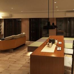 家族の変化に対応した『高床和室』を設けたマンション リフォーム (ダイニング~高床和室~リビング)