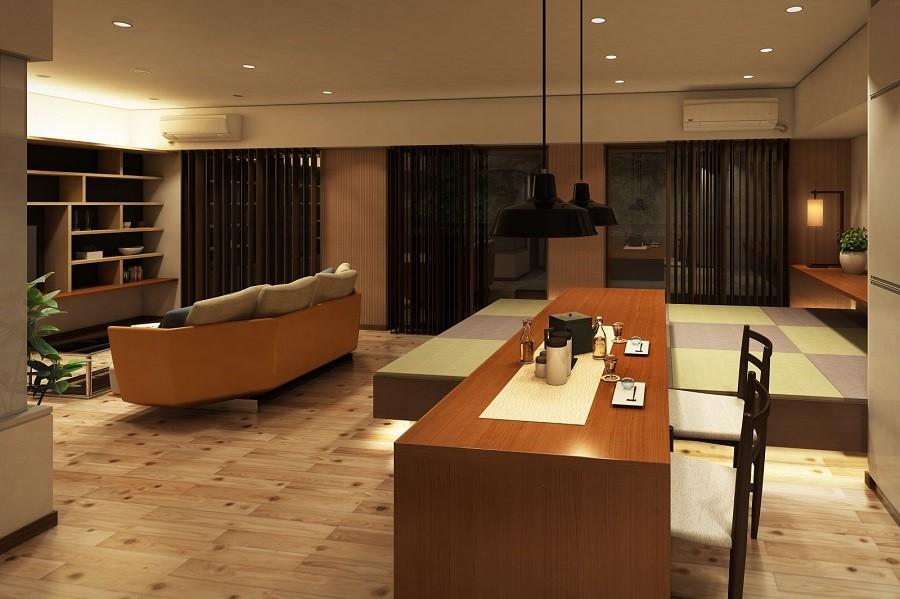 リビングダイニング事例:ダイニング~高床和室~リビング(家族の変化に対応した『高床和室』を設けたマンション リフォーム)