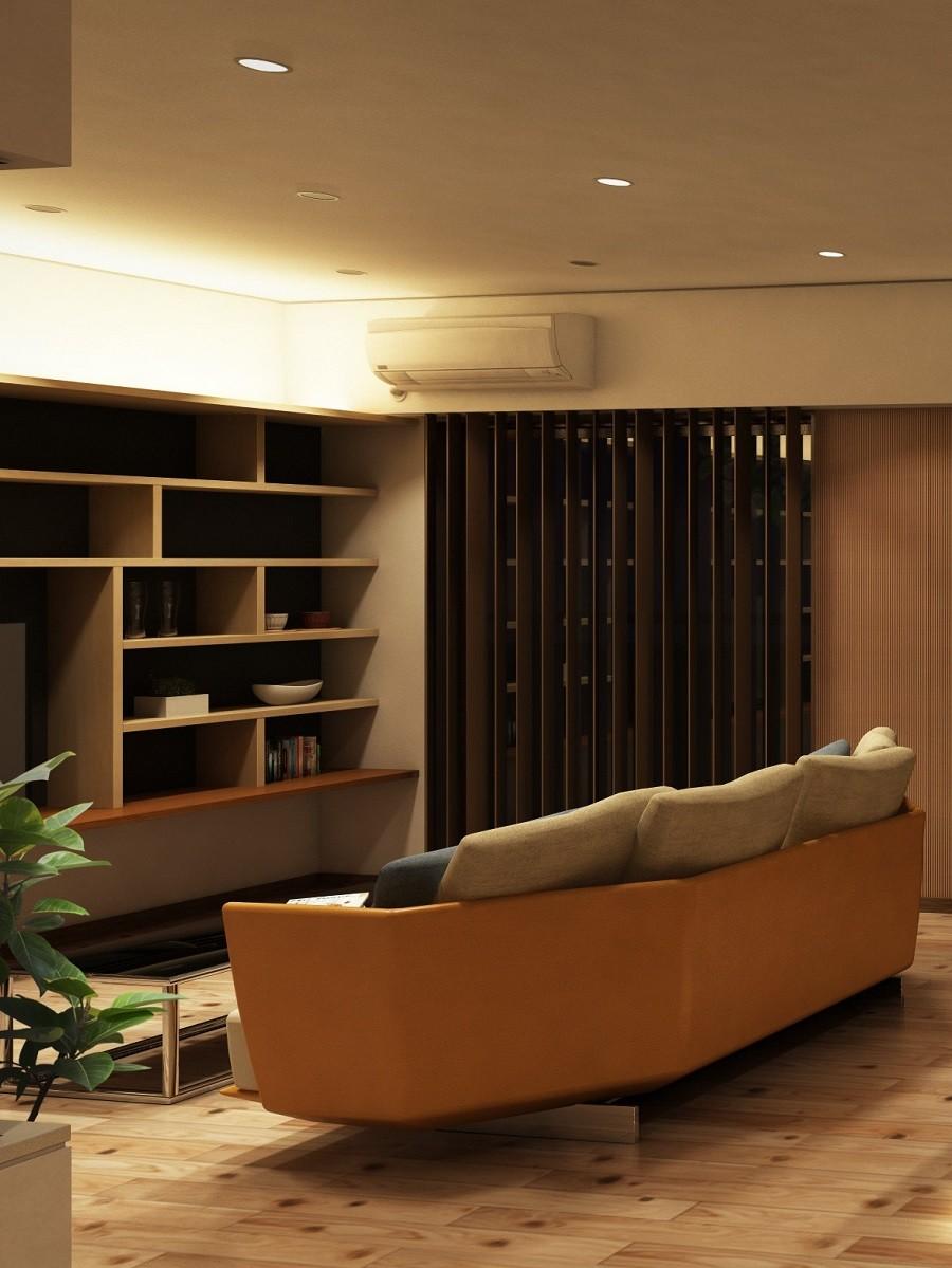 家族の変化に対応した『高床和室』を設けたマンション リフォーム (洋式リビング~造作棚)