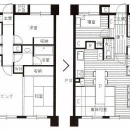 家族の変化に対応した『高床和室』を設けたマンション リフォーム (『高床和室』を設けたマンション リフォームの図面)