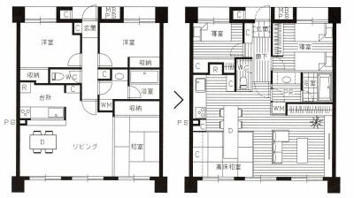 『高床和室』を設けたマンション リフォームの図面 (家族の変化に対応した『高床和室』を設けたマンション リフォーム)