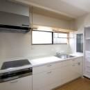 ペット(愛犬)と暮らす広いリビングが中心の自然素材住宅の写真 キッチン
