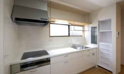 ペット(愛犬)と暮らす広いリビングが中心の自然素材住宅 (キッチン)