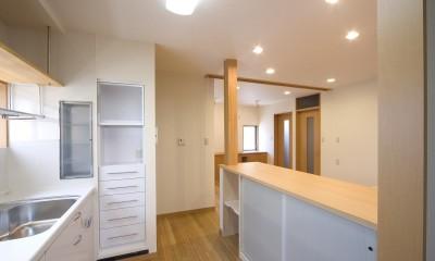 ペット(愛犬)と暮らす広いリビングが中心の自然素材住宅 (キッチン~カウンター(収納))