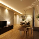 中古住宅を購入してリフォーム。住みやすさとデザイン性の高さを兼ね備えた住まいに。の写真 モダンな北欧風のリビング。