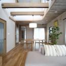 二世帯住宅を単世帯へ。明るく暖かいLDをはじめ、1階を中心にした快適な住まい。の写真 吹き抜けを設けた明るいLD。