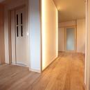 ホームエレベーターがあるバリアフリー住宅|遮音・防音構造の住宅(ガレージハウス)の写真 1階 エレベーターホール